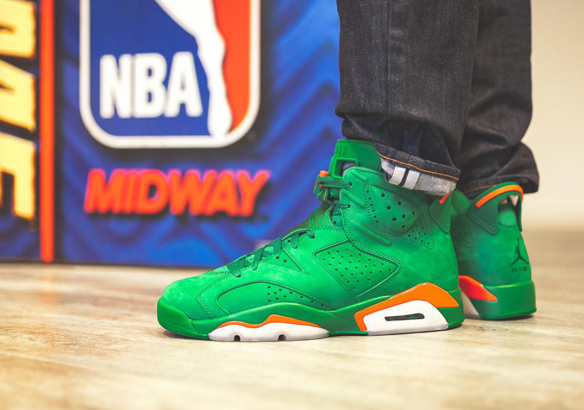 "Detailed Look At The Air Jordan 6 ""Gatorade"" In Green Suede"