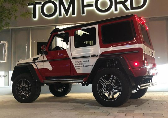 "Mercedes G-Wagons In ""Semi-Frozen Yellow"" And ""OFF WHITE AJ1"" Roam Through Art Basel Miami"