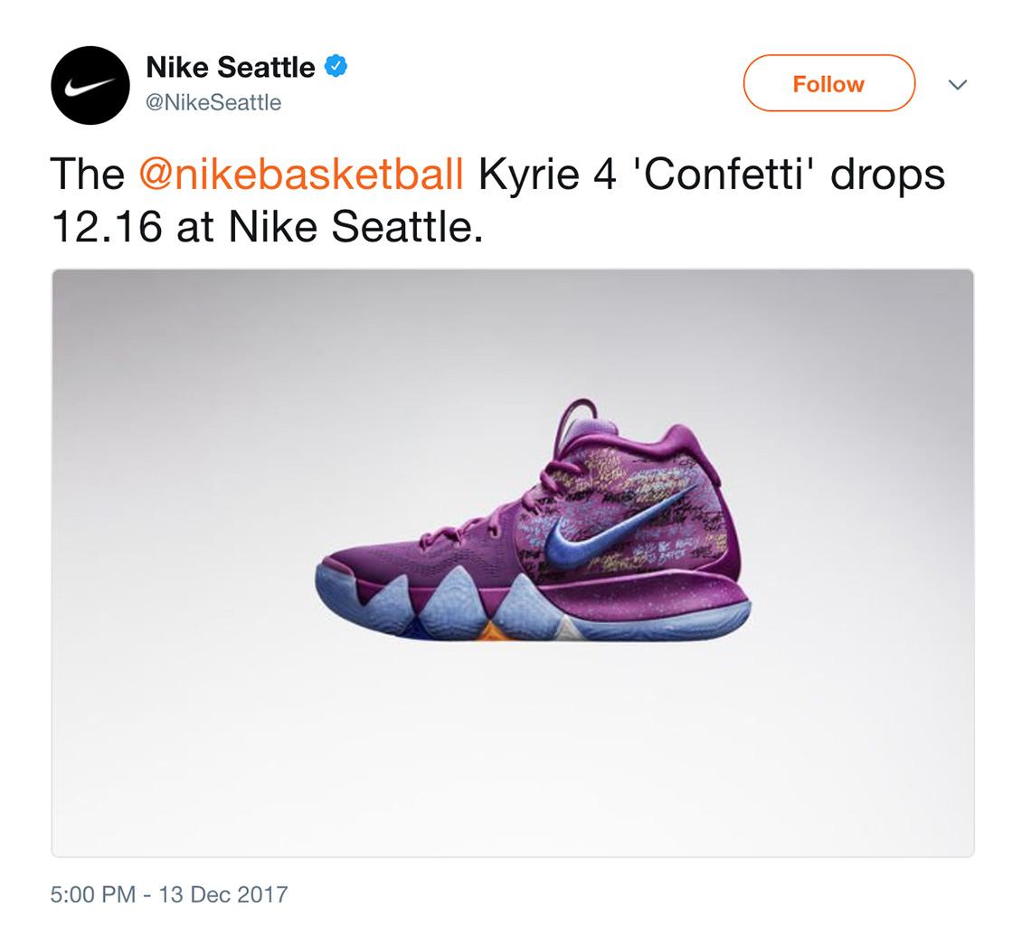 eee3ecb643da Nike Kyrie 4 Confetti Release Date