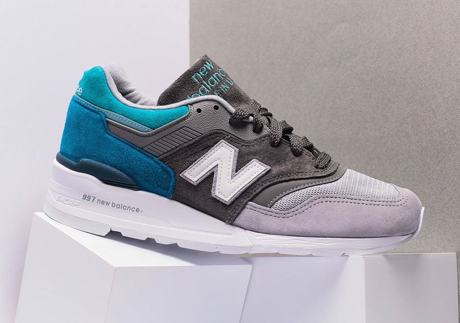 The New Balance 997 Appears In A Soothing Grey And Aqua Combination