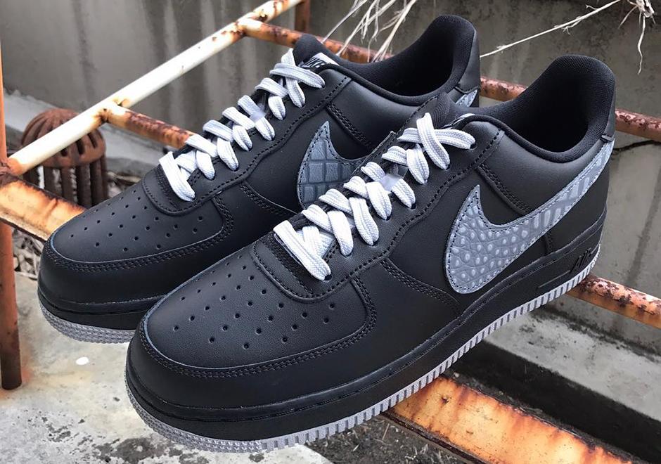 Nike Air Force 1 Croc Swoosh Black Sail 823511 012 Black