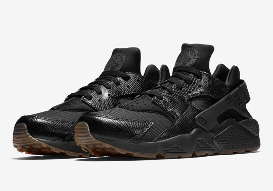 Snakeskin Uppers Appear On The Nike Air Huarache In Black And Gum