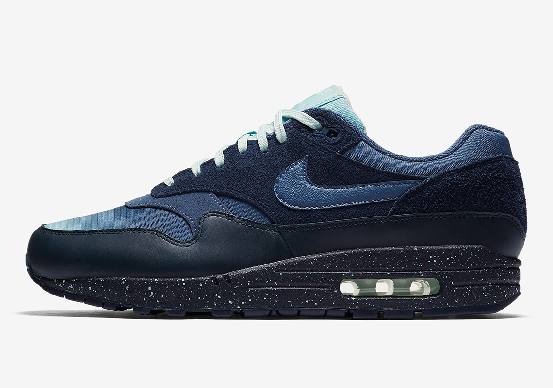 info for 0e2e8 6df10 Nike Air Max 1. AVAILABLE AT Nike  130. Color  Obsidian Ocean Bliss Barely  Grey Diffused Blue Style Code  875844-402