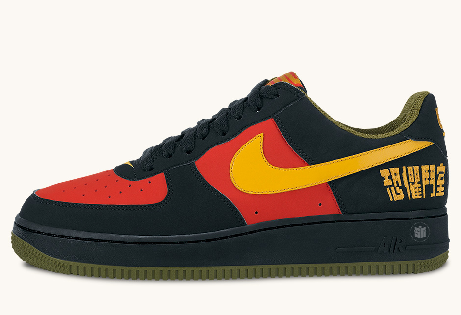 """db6e4e0fd09 Nike Air Force 1 Chamber Of Fear """"Fearless Warrior"""" Color  Black Gold  Leaf-Sport Red-Pilgrim Green"""