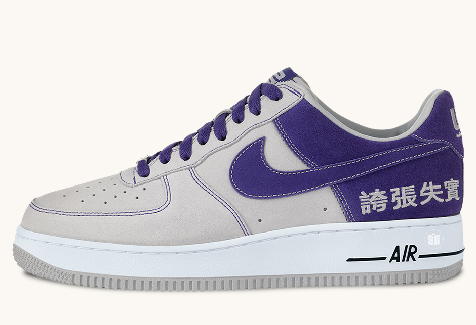 """0252d1567605 Nike Air Force 1 Chamber Of Fear """"Hype"""" Color  Neutral Grey Varsity  Purple-Black-White"""