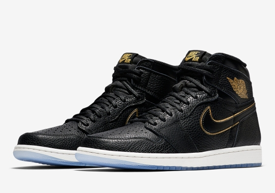 Official Images Of The Air Jordan 1 Retro High OG In Black Tumbled Leather And Gold