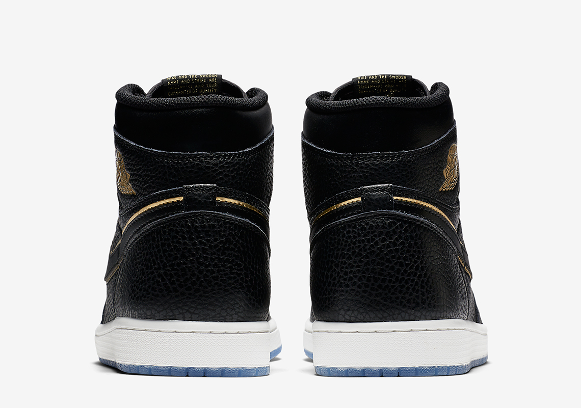 c931c87a791 Air Jordan 1 Black and Gold Tumbled Leather Official Images 555088 ...
