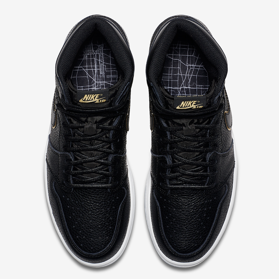 77d05c585112 Air Jordan 1 Black and Gold Tumbled Leather Official Images 555088 ...