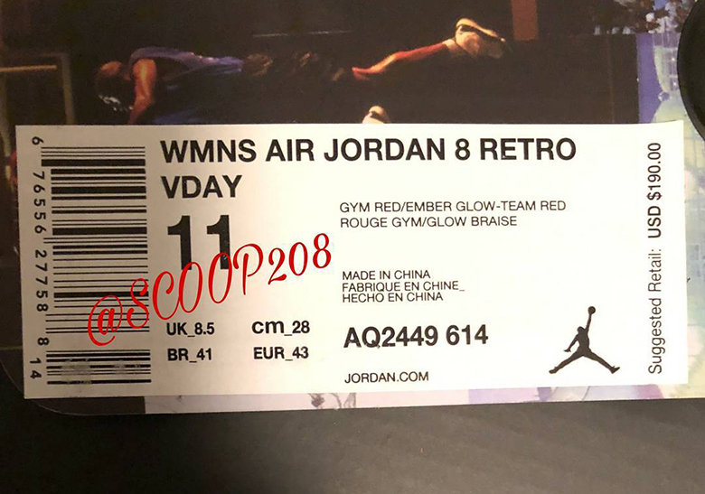 6bf436c00288db Air Jordan 8 Valentines Day WMNS AQ2449-614 First Look