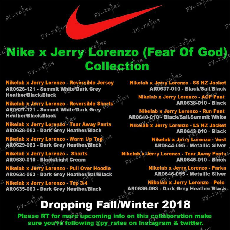 Jerry Lorenzo Fear Of God X Nike Collaboration Release Details