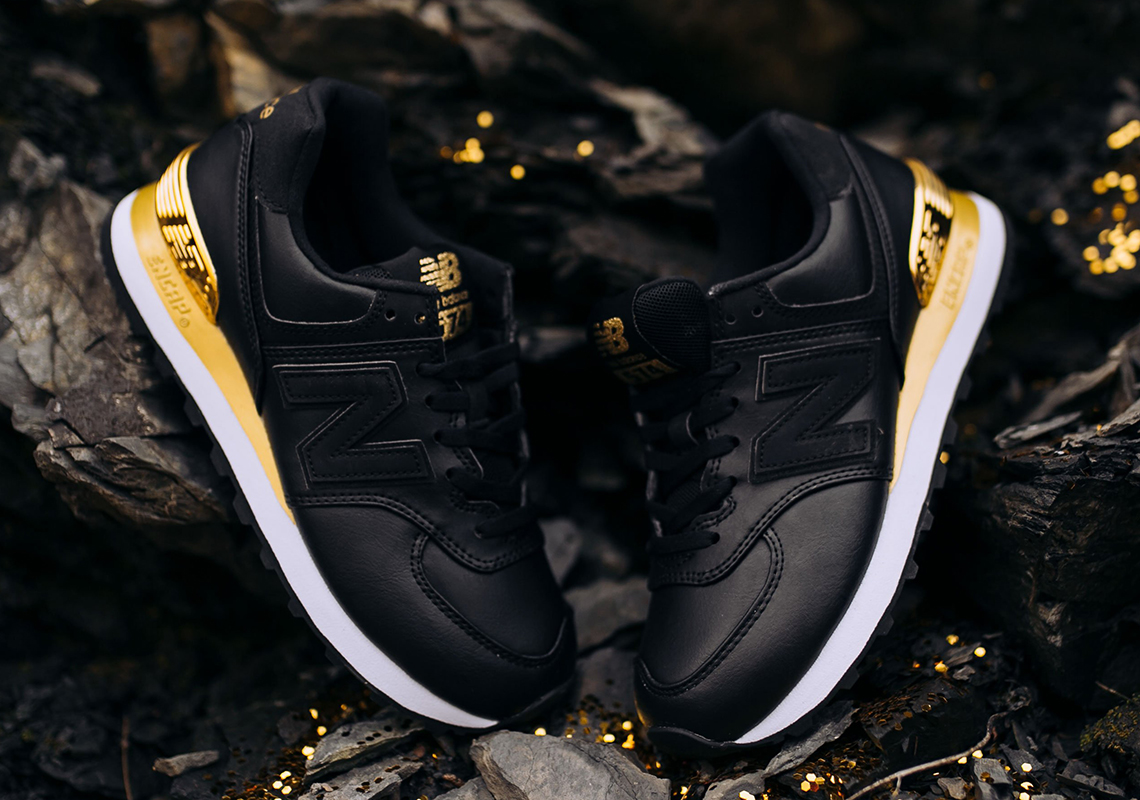 New Balance 574 Black Metallic Gold WMNS Available Now ...