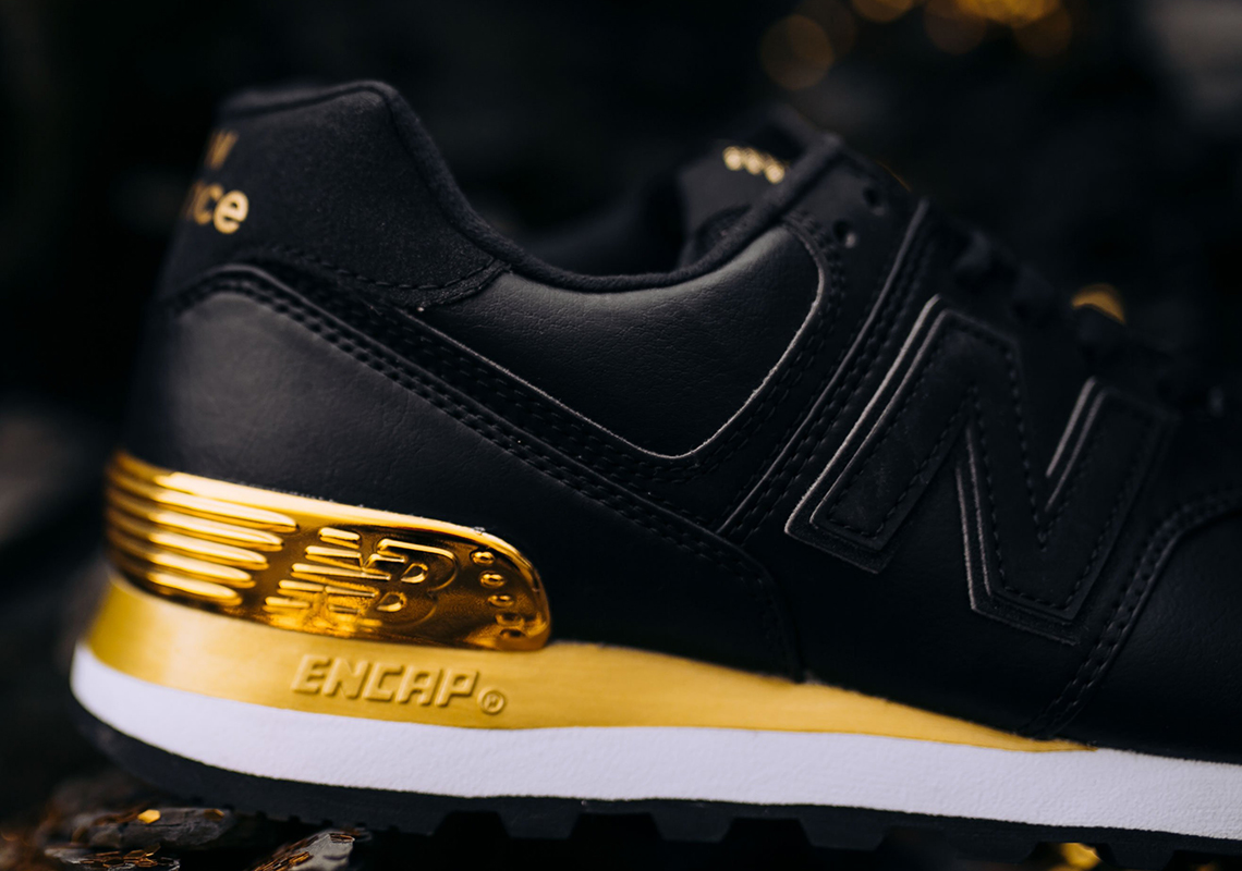 best sneakers ff680 a2dea New Balance 574 Black + Metallic Gold WMNS Available Now ...
