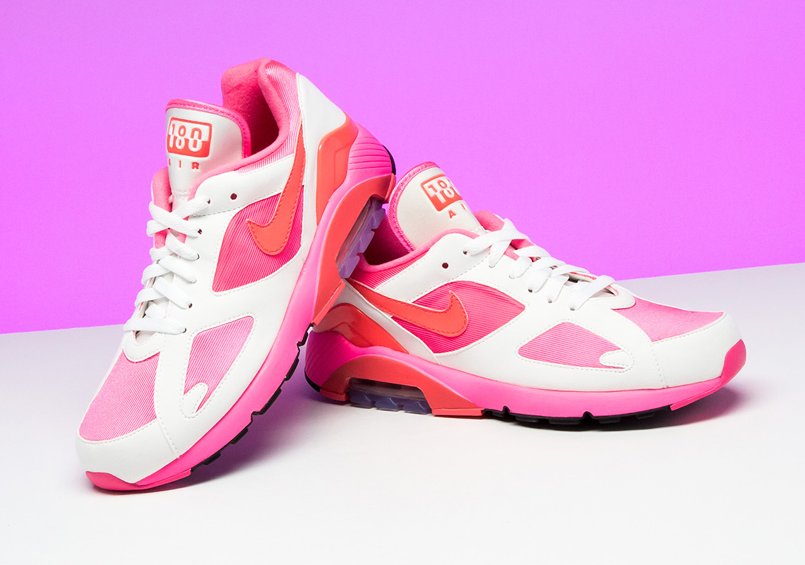 f5f2aaec2b2925 Air Max 180 CDG Pink White Laser Red Solar AO4641-600 COMME des Garcons  Brings Back The Nike ...