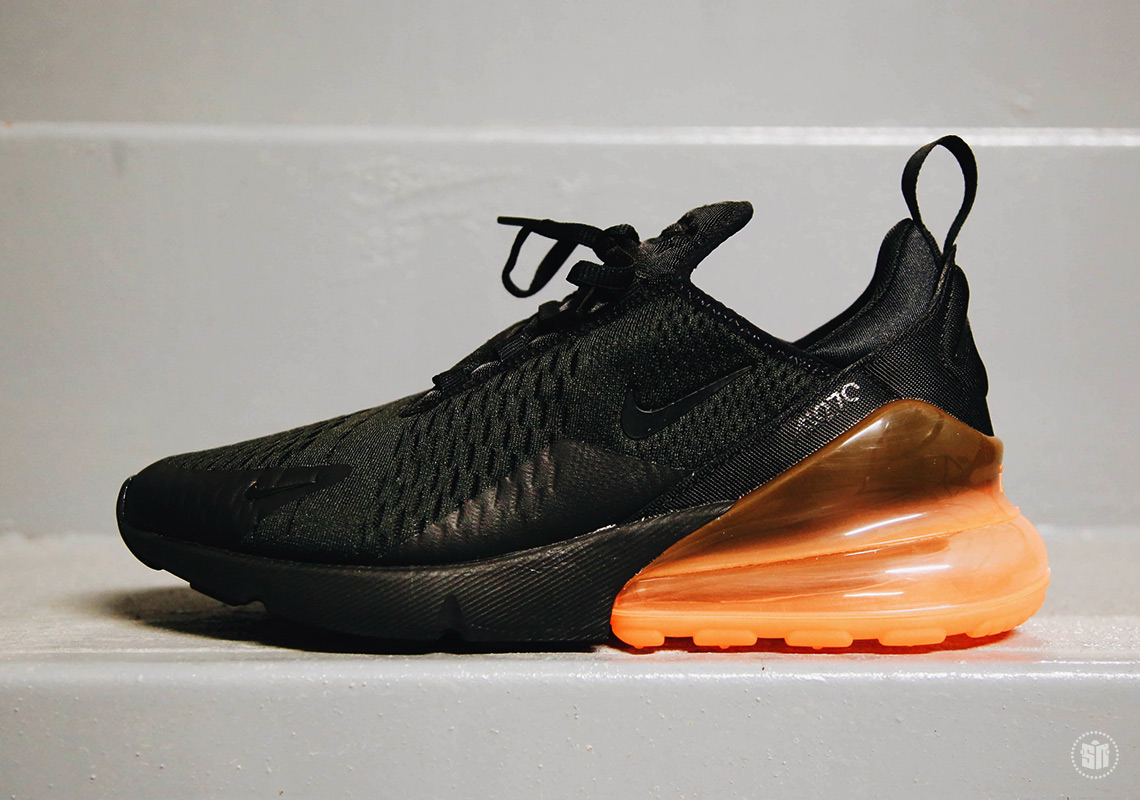nike air max 270 black and orange