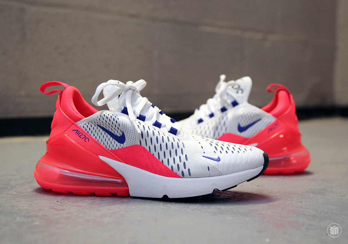 Nike Air Max 270. Release Date: March 26th, 2018 $150. Color:  White/Ultramarine-Solar Red