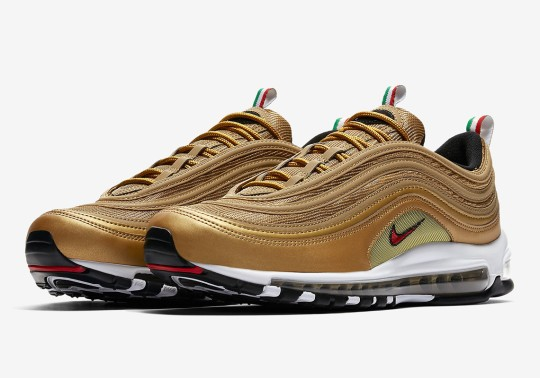 "Nike Announces Release Date For The Air Max 97 ""Italy"" In Gold"