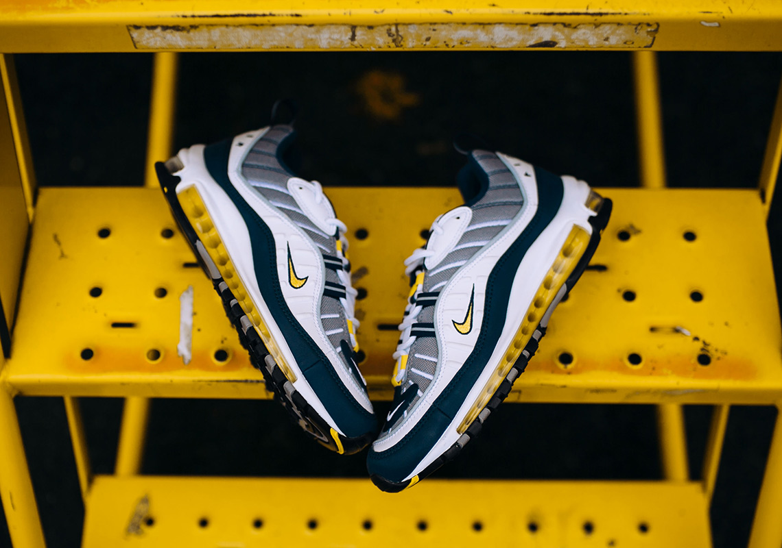 1d19bc3ba0 Nike Air Max 98. Release Date: February 24th, 2018. Color: White/Tour Yellow-Midnight  Navy-Cement Grey Style Code: 640744-105