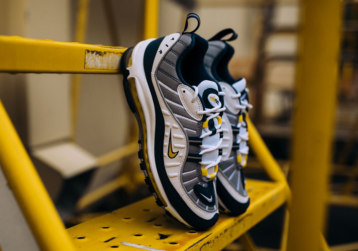 9b54c79eeb3a15 Nike Air Max 98 White Navy Yellow 640744-105 Release Date ...