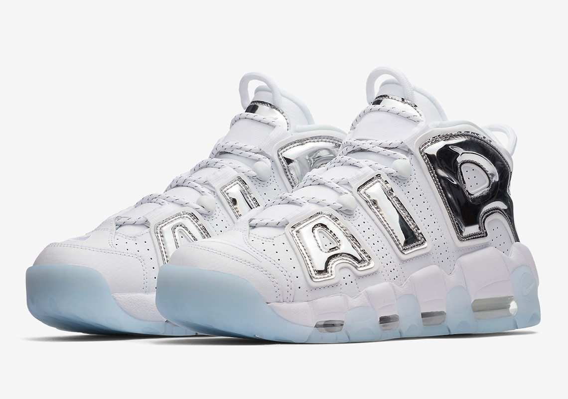 Nike Air More Uptempo WHITE CHROME METALIC SILVER.