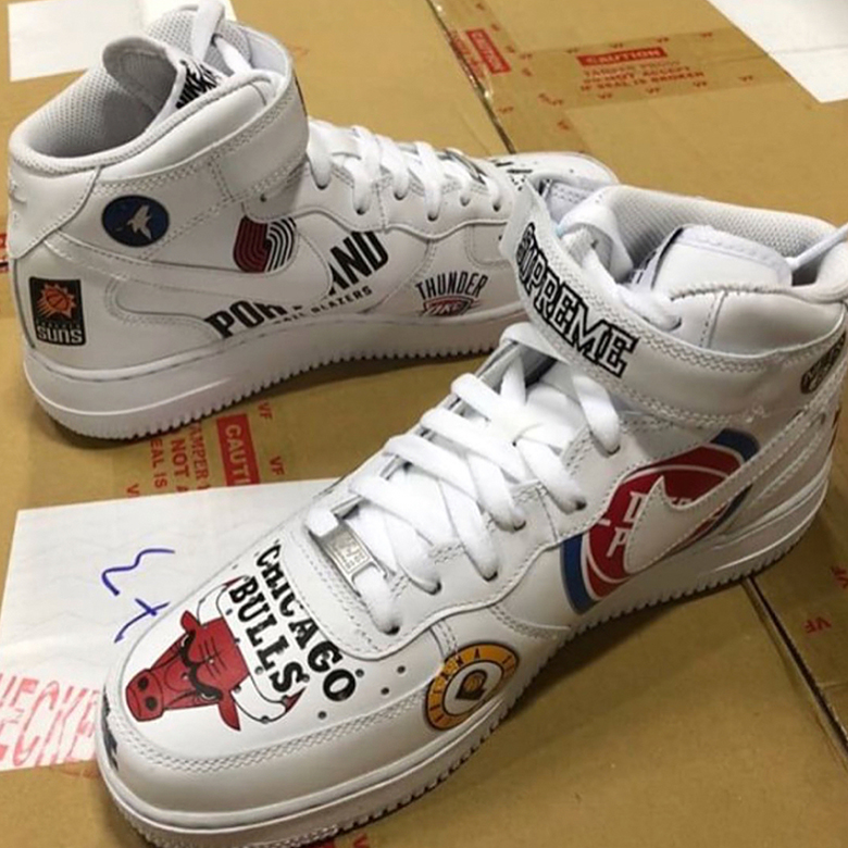 online store a5a69 db669 Supreme Nike Air Force 1 Mid NBA Logos First Look ...