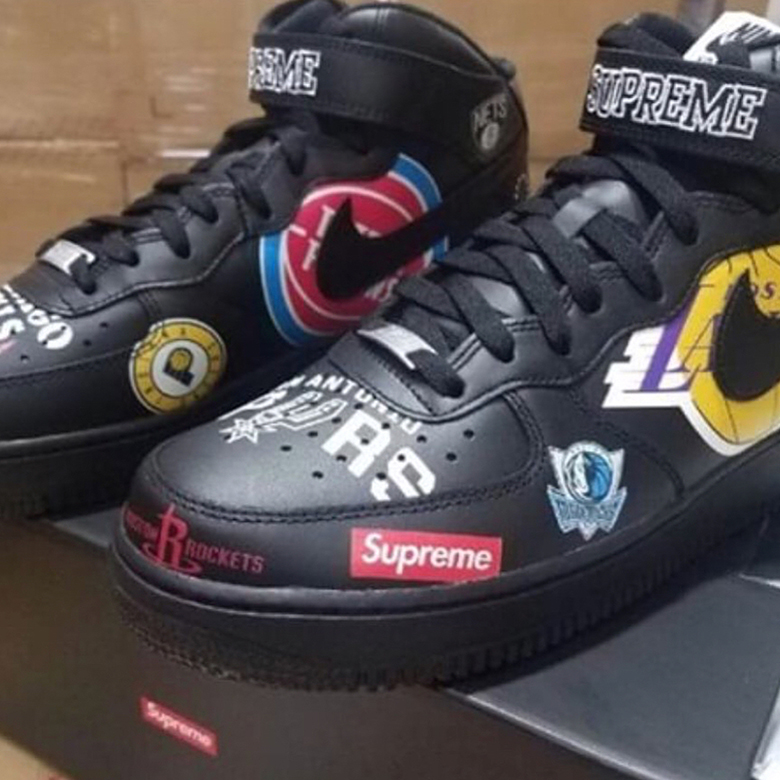 8fa6c3ad2d Supreme Nike Air Force 1 Mid NBA Logos First Look | SneakerNews.com
