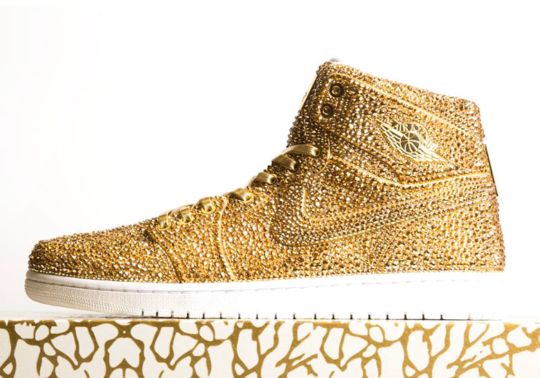 Custom Air Jordan 1s By The Dan Life Made With Over 15000 Gold Crystals