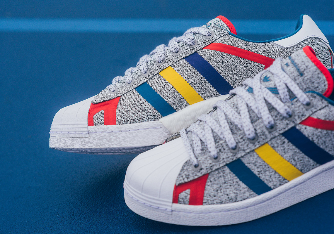537cfa7221cd White Mountaineering x adidas Superstar BOOST  150. Color  Light Grey  Heather White Style Code  AQ0352