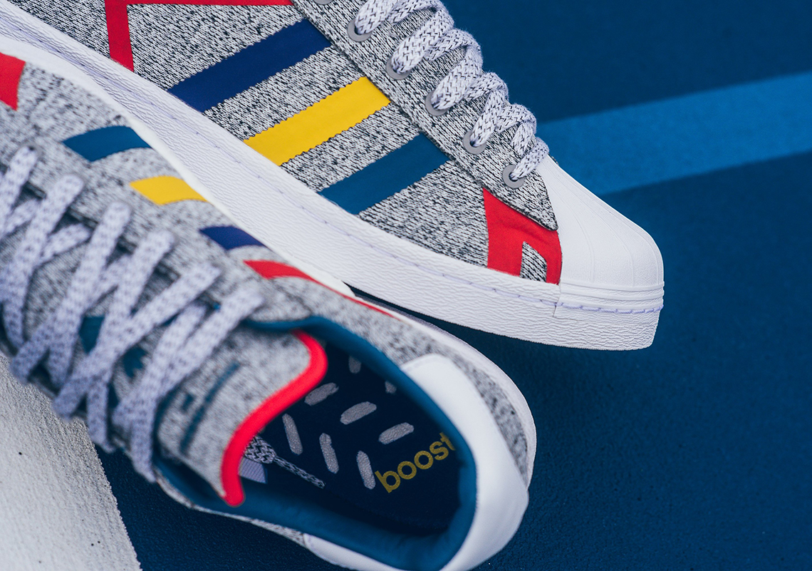 77cade0880ec White Mountaineering x adidas Superstar BOOST  150. Color  Light Grey  Heather White Style Code  AQ0352