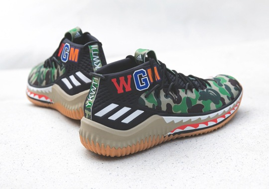 The BAPE x adidas Dame 4 Is Releasing At Sneaker Boutiques Too