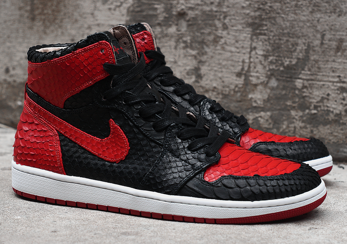 "97d0677ad931f9 JBF Customs Brings Back His Air Jordan 1 ""Banned"" In Python"