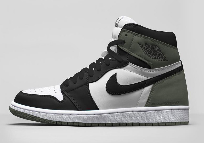 "Air Jordan 1 Retro High OG ""Clay Green"" Release Date: April, 2018 $160.  Color: Summit White/Black-Clay Green"