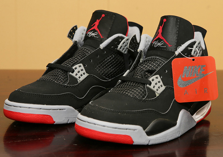 "762705af77bb50 Advertisement. Pictured above is the Air Jordan 4 ""Bred"" ..."