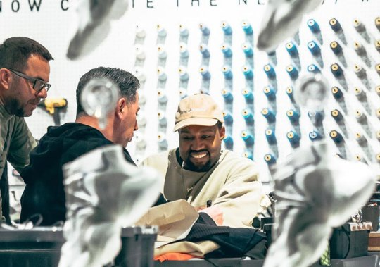 Kanye West Makes Rare Appearance At adidas 747 Warehouse St.