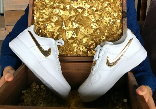Cristiano Ronaldo Gifted Nike Air Force 1 With 24k Gold Swooshes For His Birthday