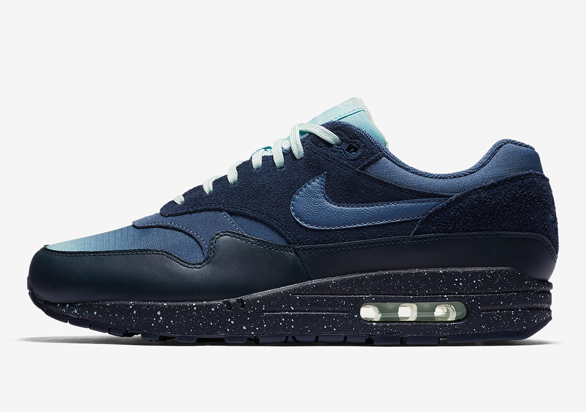 e704a5e9723 Nike Air Max 1. AVAILABLE AT Nike $130. Color: Obsidian/Ocean Bliss/Barely  Grey/Diffused Blue