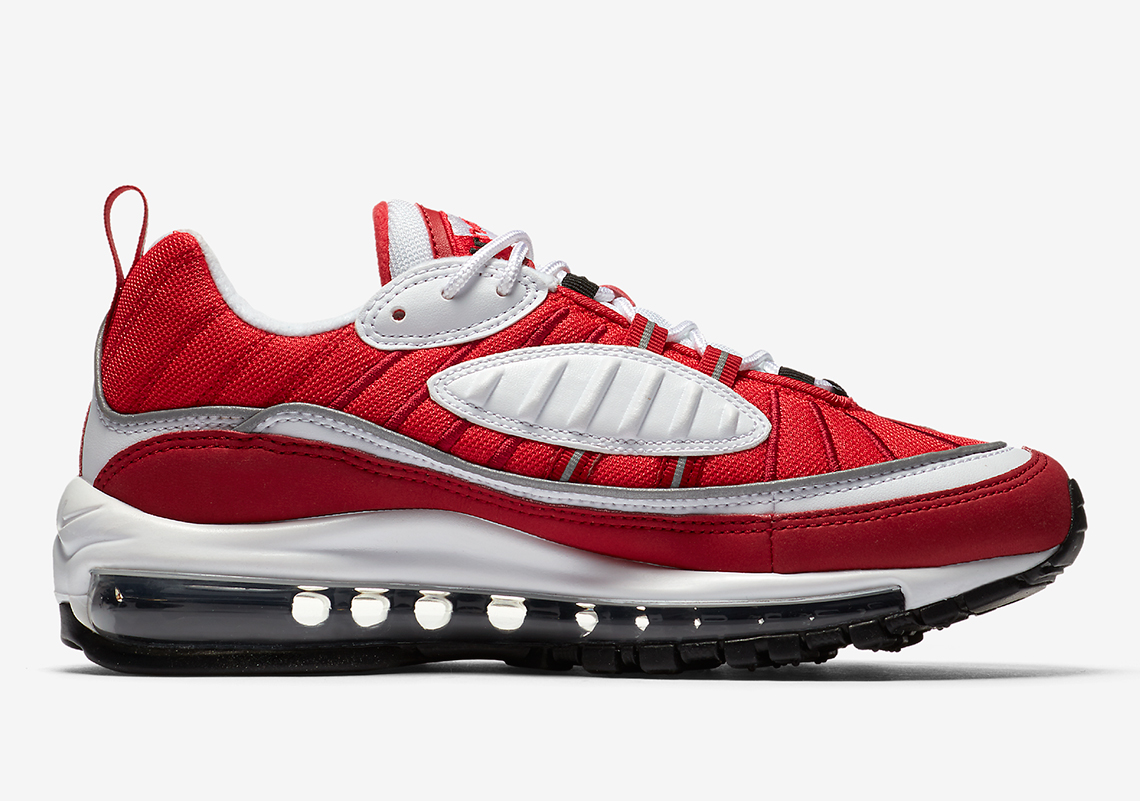 Nike Air Max 98 $160. Color: White/Black Gym Red Reflect Silver