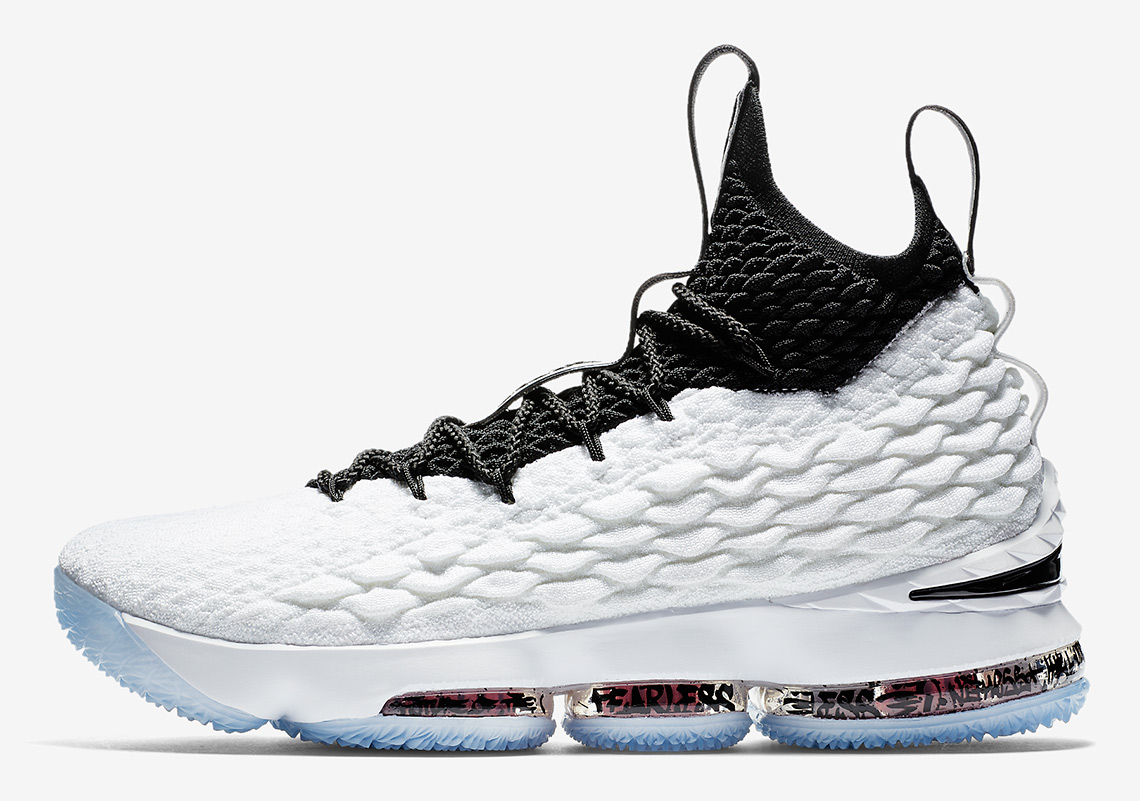 info for 8364d 836cc Nike LeBron 15. Release Date  March 2, 2018. AVAILABLE AT FinishLine  185.  Color  White Black-Black-University Red Style Code  AQ2363-100