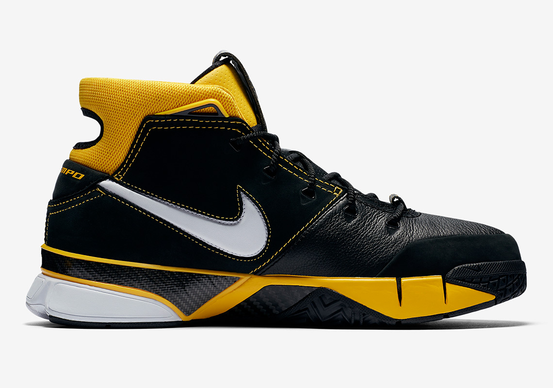 Nike Zoom Kobe 1 Protro Release Date: February 17th, 2018. AVAILABLE AT Nike  $175. Color: Black/Black-Varsity Maize