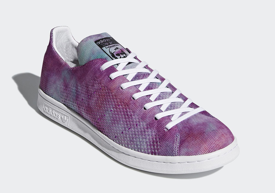 """Pharrell x adidas Stan Smith """"Holi"""" Release Date: March, 2018. Color: Lab Purple"""