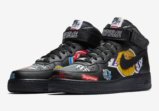 Official Images Of The Supreme x Nike Air Force 1 Mid In Black