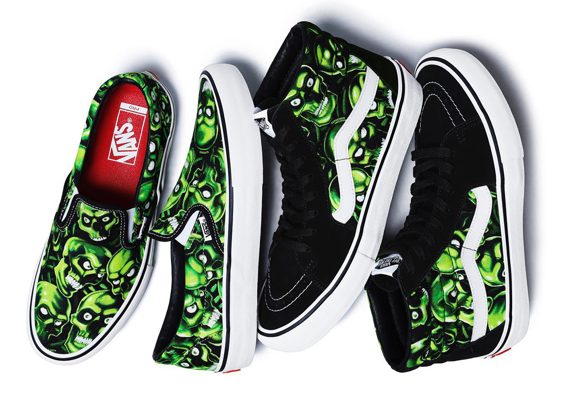 "e8b52945ea The Supreme x Vans ""Skull Pile"" Glow In The Dark Collection Releases  Tomorrow"