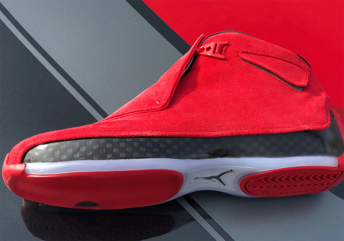 on sale d5166 e8fb1 ... get closer look at the air jordan 18 retro red suede d67c0 b244e