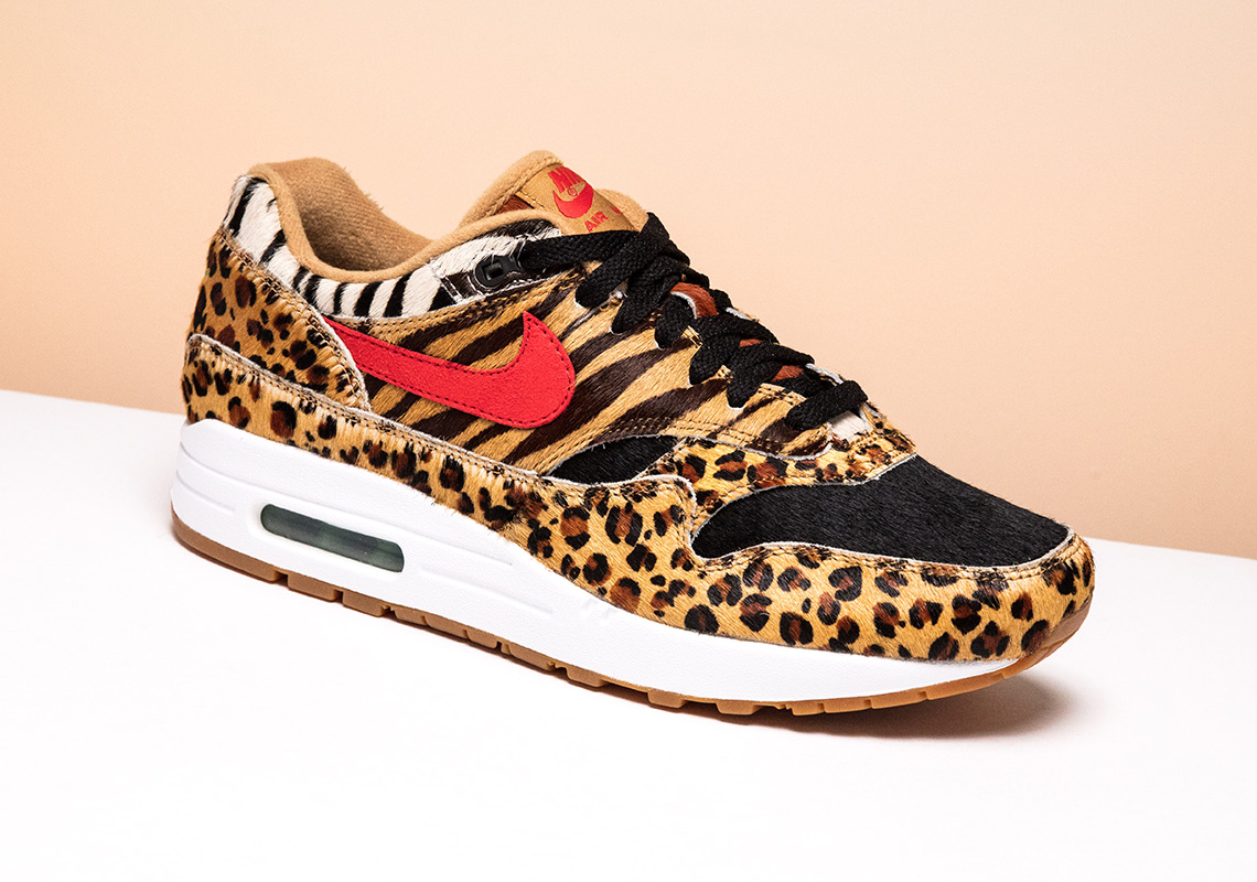 "atmos x Nike Air Max 1 ""Animal Pack 2.0"" Release Date: March 17th, 2018. Avaiable now at Stadium Goods Color: White/Sport Red-Bison-Classic"