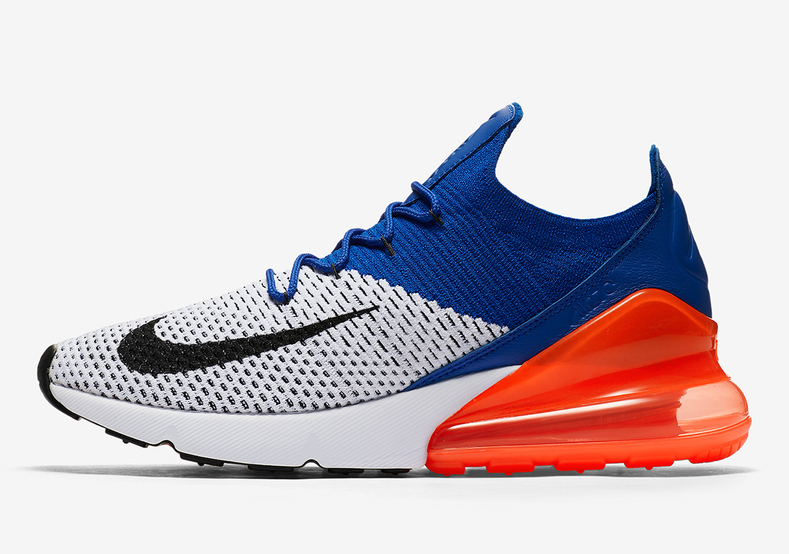 Nike Air Max 270 Flyknit Release Date: March 22, 2018. Color: White/Black-Racer Blue-Total Crimson