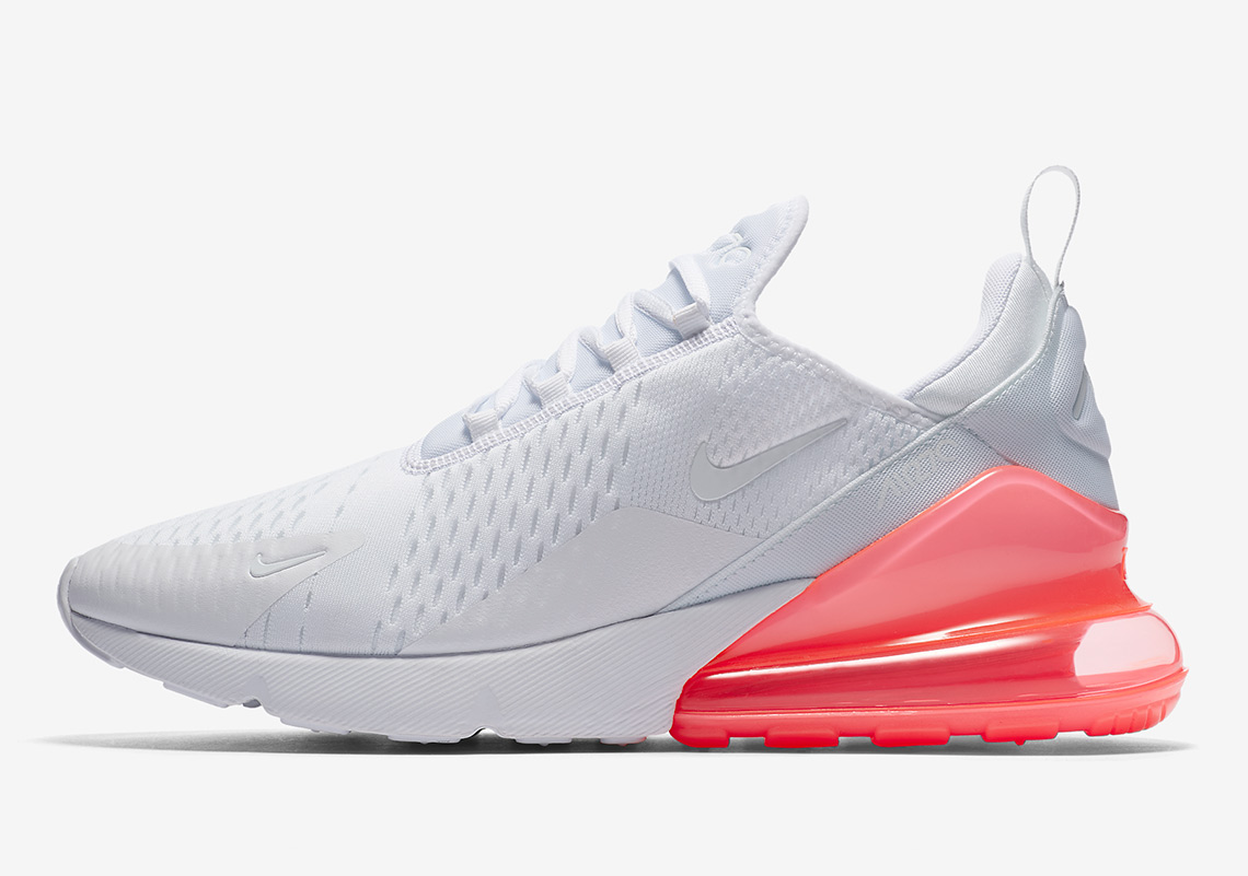Nike Air Max 270. Release Date: March 26, 2018. Available now on Nike.com $150. Color: White/White-Hot Punch