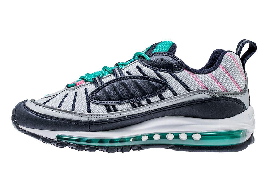 new style 7e251 110aa Nike Air Max 98. Release Date  April 5th, 2018. Color  Pure Platinum  Obsidian Kinetic Green Style Code  640744-005. Advertisement
