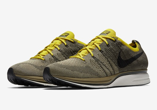 0ef0348ce403d Nike Pairs Cargo Khaki And Bright Citron On The Flyknit Trainer