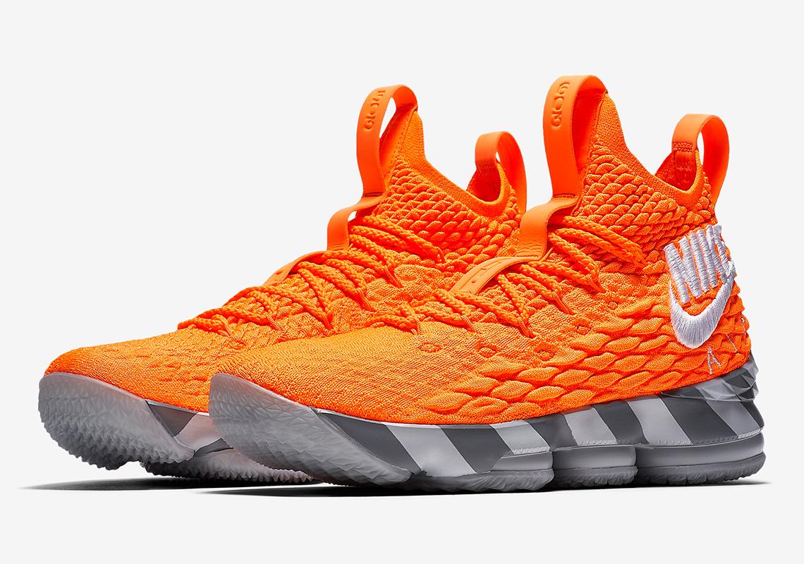 Nike LeBron 15 #LeBronWatch Orange Grey Shoebox ...