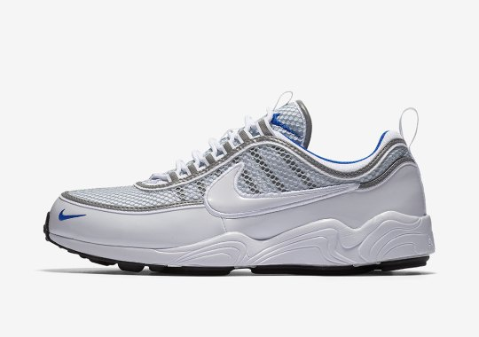 The Nike Zoom Spiridon In White And Platinum Blue