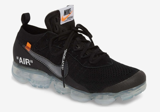The OFF WHITE x Nike Vapormax Flyknit In Black Releases On March 30th